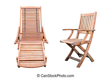 Wooden Furniture Isolated - A Wooden Sunbed and a Wooden...
