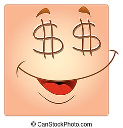 Dollar Eyes Happy Box Smiley