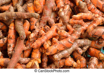 Turmeric root in Vegetable market for cooking