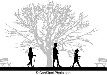 Vector silhouette of people with Nordic walking