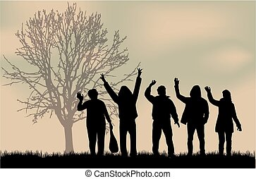 Vector Clipart of Group of party people - Silhouettes of lots of ...