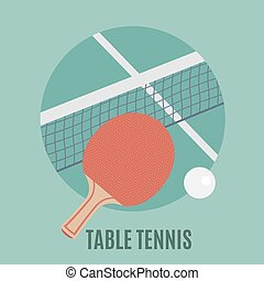 Table Tennis Racket and ball, flat icon