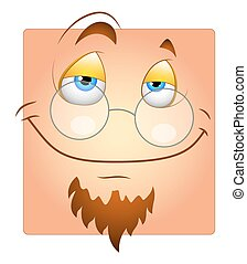 Smiling Cartoon Professor Smiley - Happy Face with Specs and...
