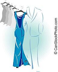 blue dress, vector