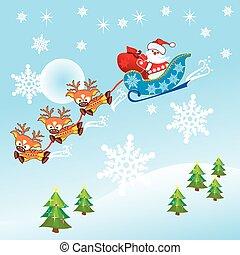 santa claus & reindeer