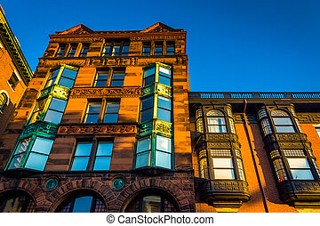Old building in Boston, Massachusetts.