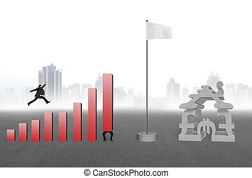 Man jumping over bar charts to flag with currency house gray...