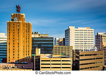 View of buildings in Harrisburg, Pennsylvania.