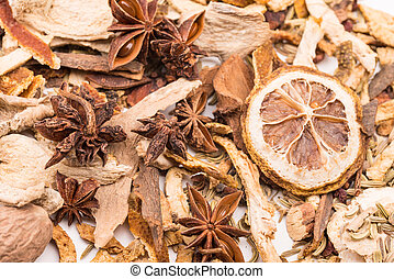 Different spices background. - Close up view of different...