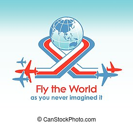Fly around the world - Fly the World modern aviation concept
