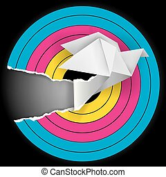 Target with origami bird - Target with print colors and...