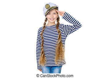 salute - Joyful teen girl wearing sailor's striped vest and...