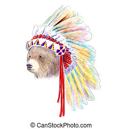 Indian bear - Digital watercolor illustration of a Indian...