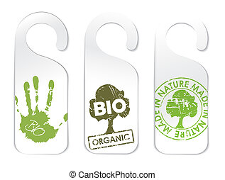 Set of three tags for organic products