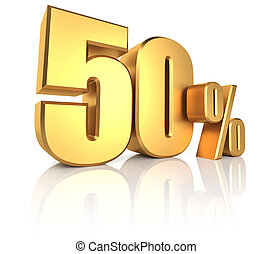 Gold 50 Percent - 50 percent on white background. 3d...