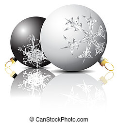 Black and white Christmas bulbs with snowflakes ornaments on...