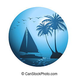 Summer background with palm trees and a yacht on the ocean