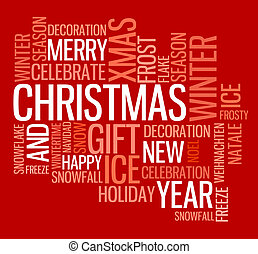 Abstract christmas card with season words on red