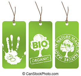 Set of three green tags for organic bio eco