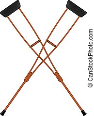 Two crossed retro crutches on white background