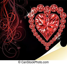 Ruby heart, wedding valentines day, vector illustration
