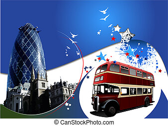 Two London images on blue background. Vector illustration