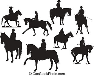 Eight horse rider silhouettes Vector illustration