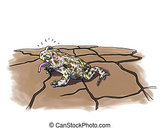Toad drought digital illustration. Amphibians protection