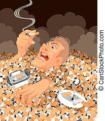 Man sinking in cigarette butts - Vector illustration of a...
