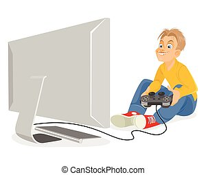 Young boy playing pc