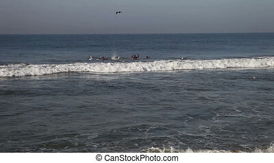 Indian fishermen in the sea - VARKALA, KERALA/INDIA -...