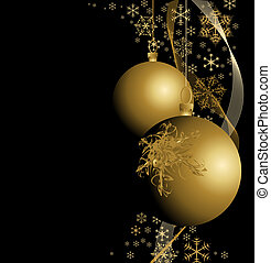 Golden Christmas bulbs with snowflakes on black background
