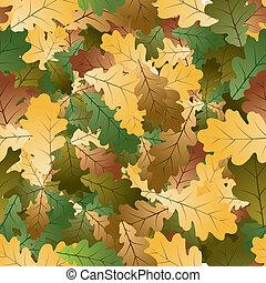 quercia, mette foglie, seamless, modello