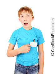 Teenager with a Badge - Surprised Kid with a Badge on...