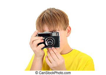 Kid with Photocamera - Kid with Vintage Photocamera Isolated...