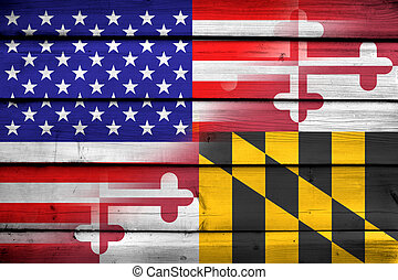 USA and Maryland State Flag on wood background