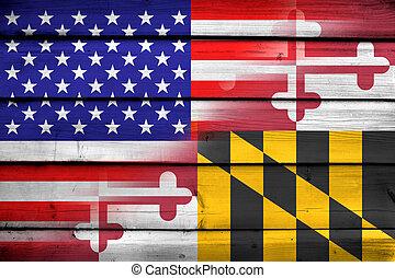 Stati Uniti, bandiera, stato, legno, fondo,  Maryland