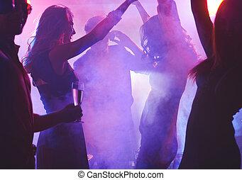 noche, bailando,