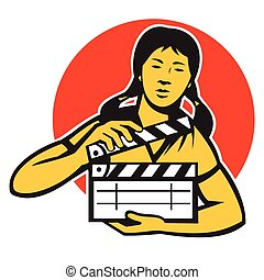 asian-woman-movie-clapper