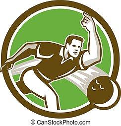 Bowler Throwing Bowling Ball Circle Retro - Illustration of...