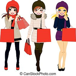 Winter Women Shopping - Three beautiful young women in...