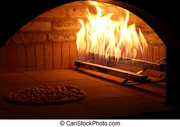 Owen for pizza - Bricks owen to cook italian pizza in a...