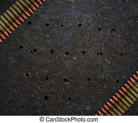 metal, placa, con, agujeros, De, balas,