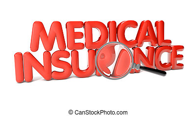 medical insurance text isolated on white background