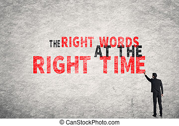 The Right Words At The Right Time - Asian businessman write...