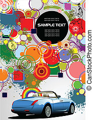 Abstract background with cabriolet image. Vector