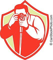 Photographer Shooting Camera Shield Retro