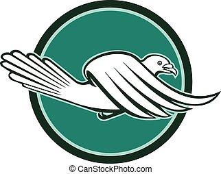 Pigeon Bird Racing Flying Side Circle Retro - Illustration...