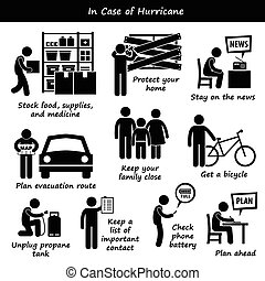 In Case of Hurricane Typhoon - A set of human pictogram...