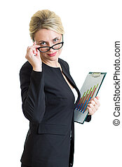 confident businesswoman weared eyeglasses holding documents isolated on white